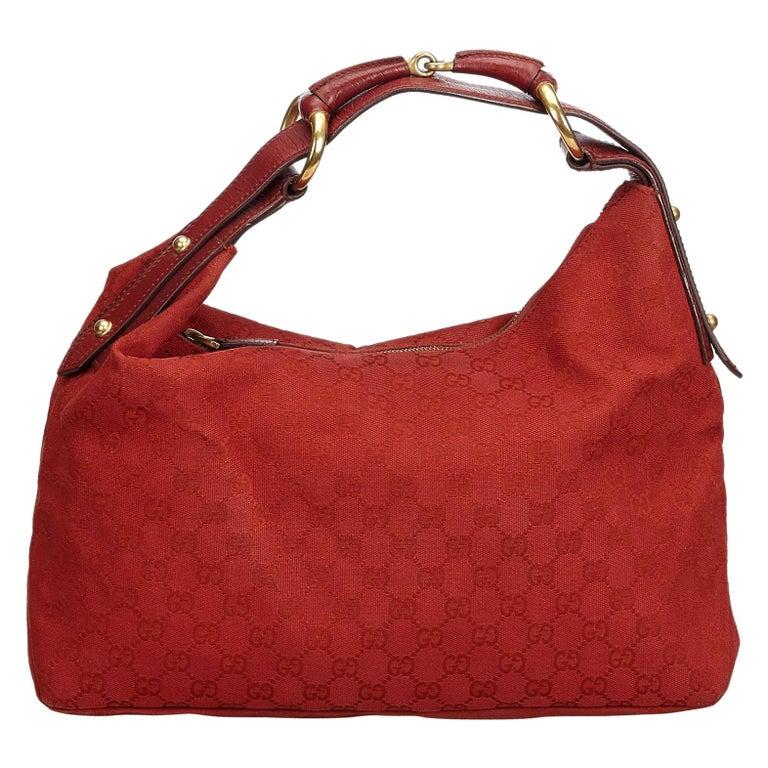 09db5d41537d Gucci Red GG Horsebit Jacquard Shoulder Bag at 1stdibs