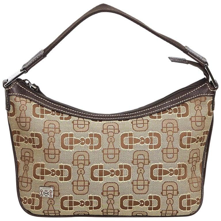 c1f09b71d348 Gucci Brown Horsebit Print Jacquard Handbag For Sale at 1stdibs