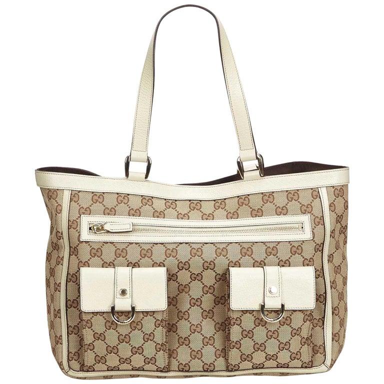 634f5c36dd Gucci Brown GG Jacquard Tote Bag at 1stdibs