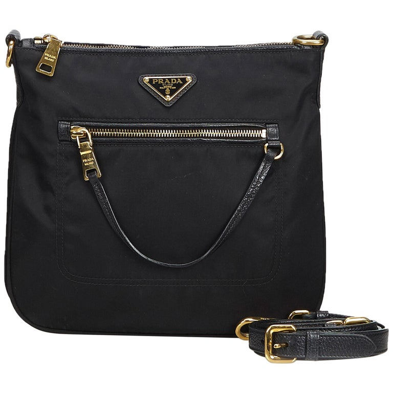 996c923db4b643 Prada Black Tessuto Nylon Shoulder Bag at 1stdibs
