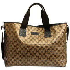 Gucci Brown Leather Crystal Shopper Bag