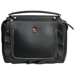 Fendi Black Leather Dot Com Bag