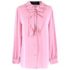 Gucci Pink Silk Ruffled Collar Tie-neck Blouse US 8