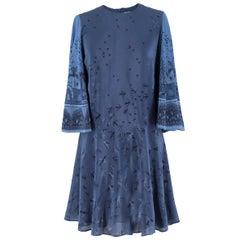 Valentino Metamorphosis Blue Crepe de Chine Mini Dress US 2