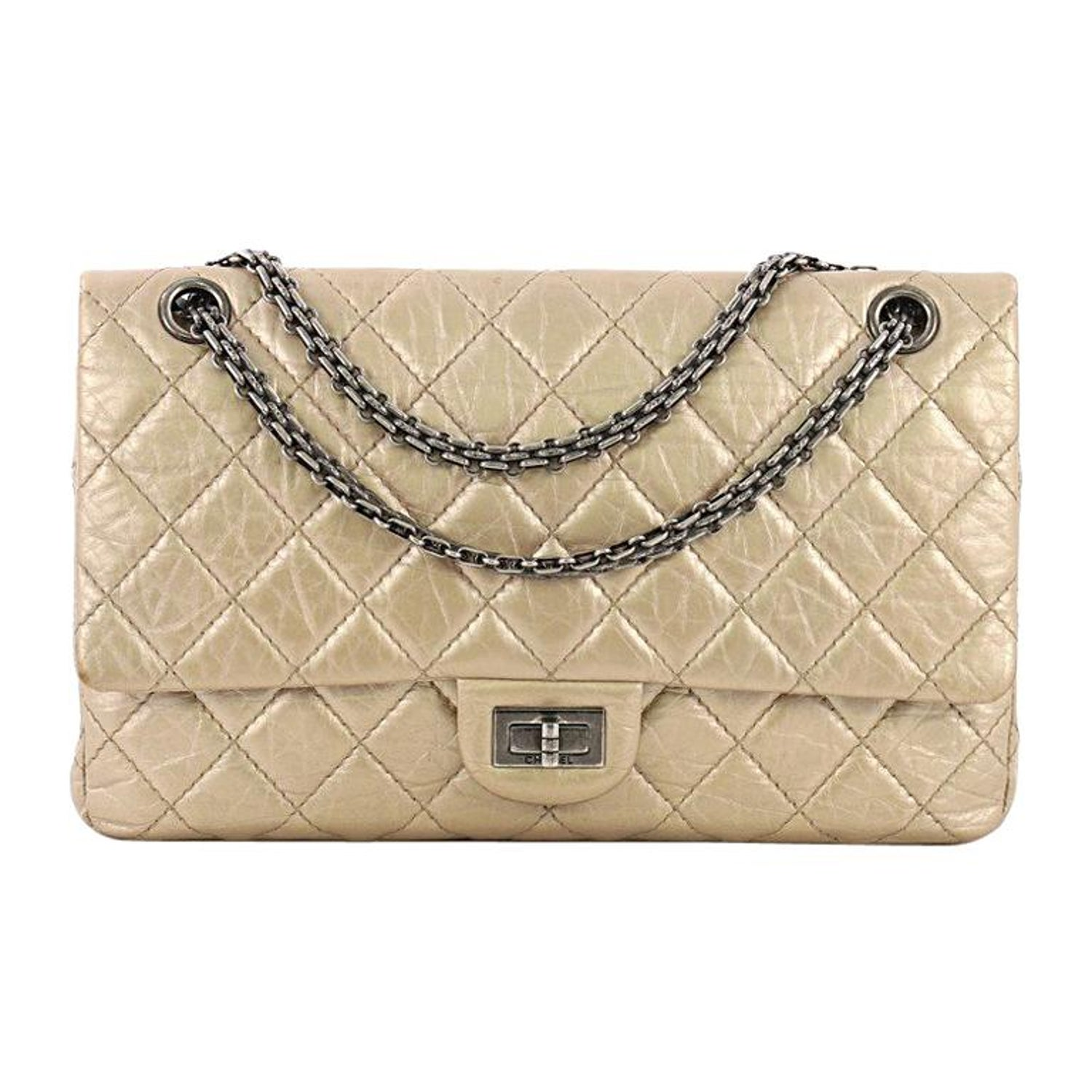 7ae9fa0bbcb712 Chanel Reissue 2.55 Handbag Quilted Metallic Aged Calfskin 226 at 1stdibs