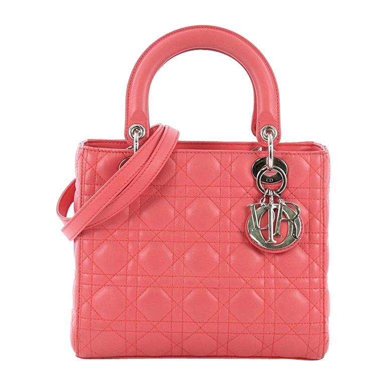 43885fc75a Christian Dior Lady Dior Handbag Cannage Quilt Lambskin Medium For Sale