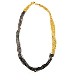 Iosselliani Two Tones 18 Carat Gold Plated Multithread Necklace