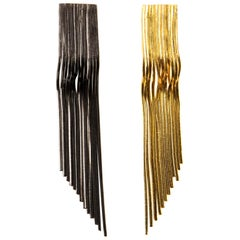 Iosselliani Two Tones 18 Carat Gold Plated Clip Fringed Earrings