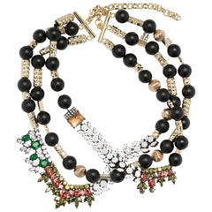 Iosselliani Tiered Black Agate Beads Necklace