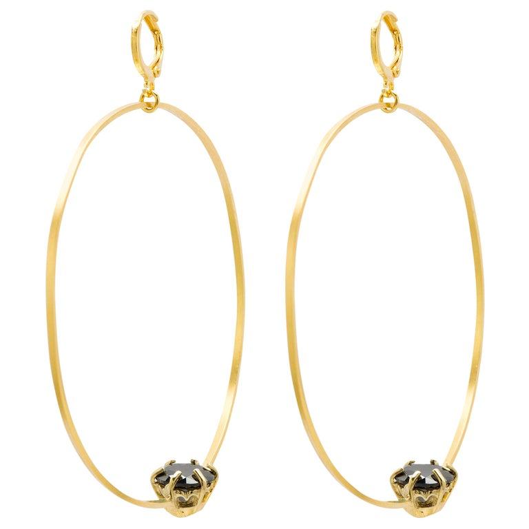 Puro Iosselliani Creole Hoop Gold Plated Earrings For Sale
