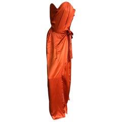 "Vivienne Westwood Gold Label Orange  ""Dalma"" Silk Satin Evening Dress NWT UK12"