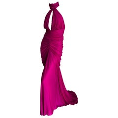 Alexander McQueen Vintage Keyhole Halter Style Evening Dress w Fishtail Train