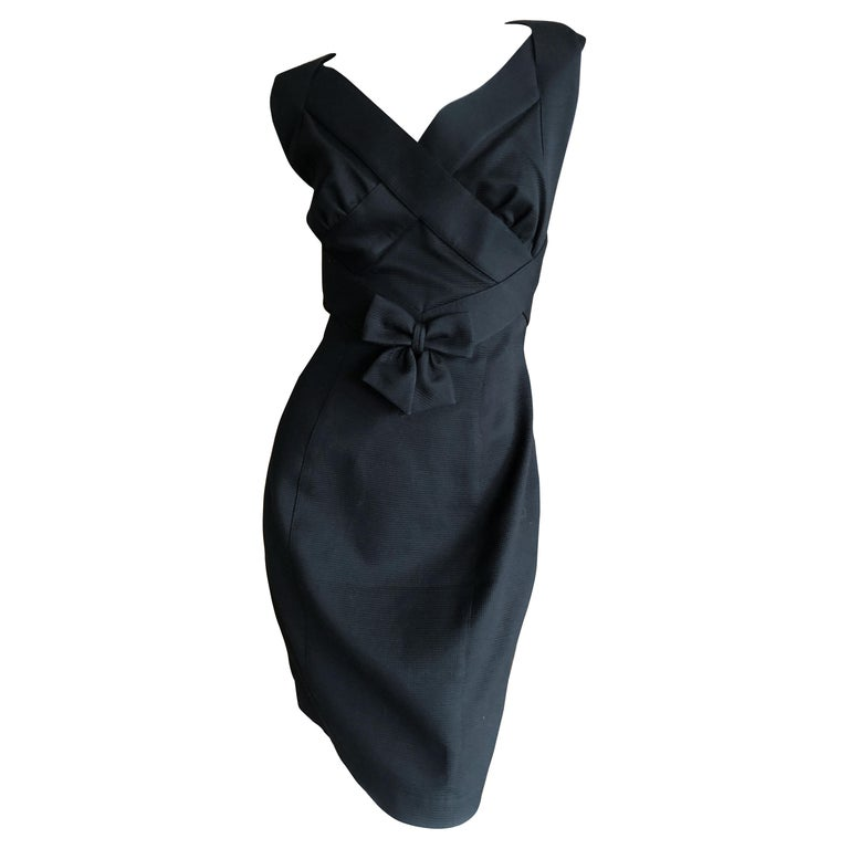 Thierry Mugler Elegant Vintage 80's Bow Accented Little Black Cross Back Dress  For Sale