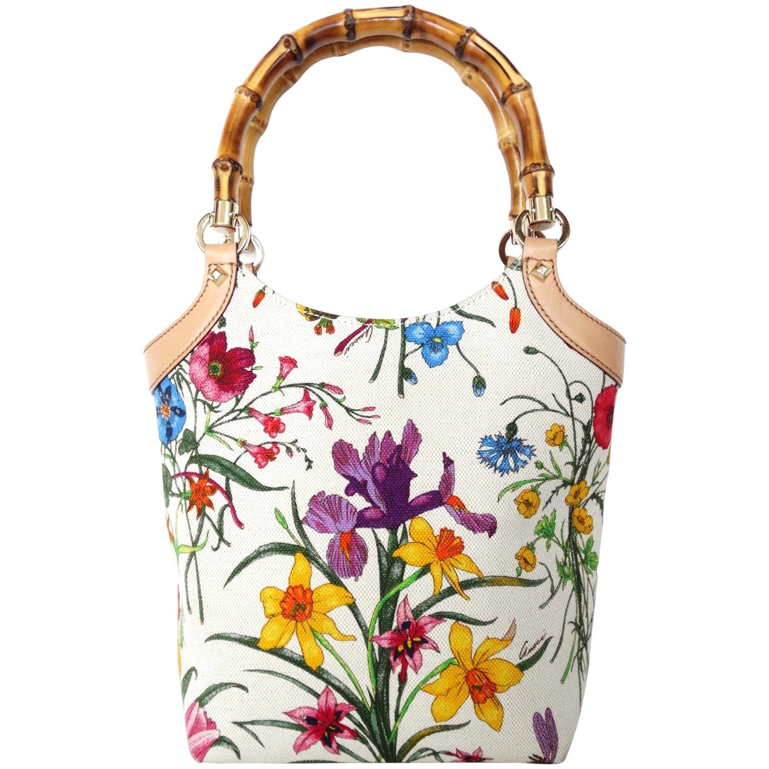 a6dcde85b Gucci Flora Canvas and Bamboo Handle Tote at 1stdibs