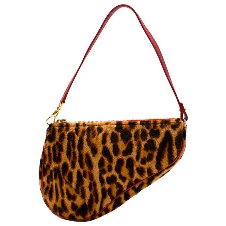 0e8083ffd2 Dior Vintage Leopard Print Pony Hair Saddle Bag For Sale at 1stdibs
