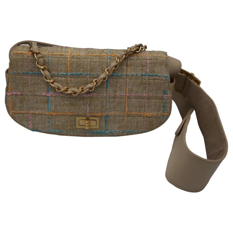 Chanel Multicolor Tweed and Beige Leather Shoulder Bag For Sale