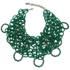 Francoise Montague Green Glass Bead Statement Necklace