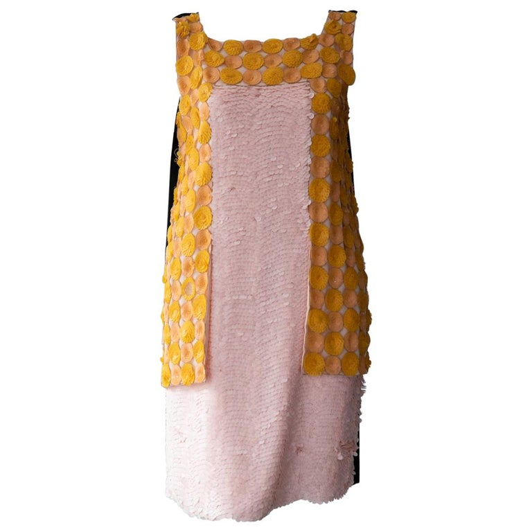 Fendi Pink and Yellow Sequin Shift For Sale