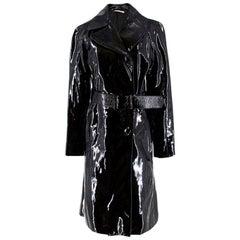 Prada Black Patent Leather Trench Coat US 4