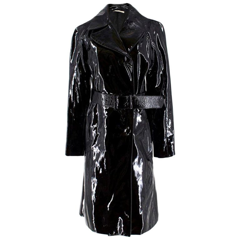 Prada Black Patent Leather Trench Coat US 4 For Sale