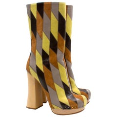 Prada Brown and Yellow Leather Platform Boots US 5.5
