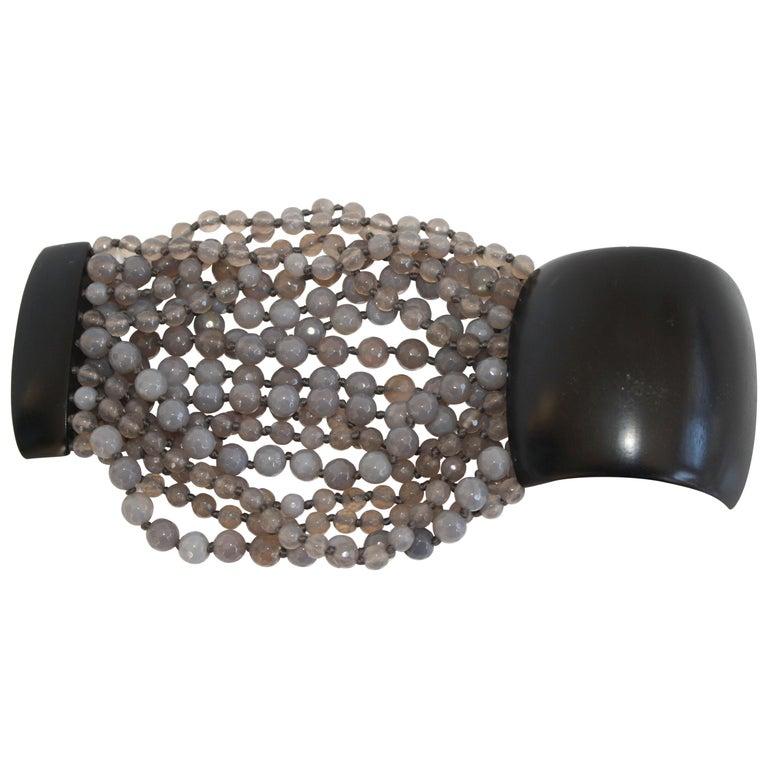Monies Labradorite and Magnetic Ebony Wood Closure Bracelet For Sale