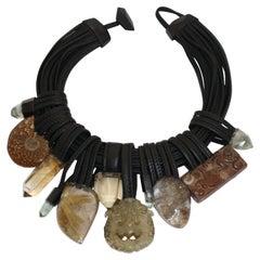 Monies Quartz, Citrine, Jade, Ebony, and Leather Necklace