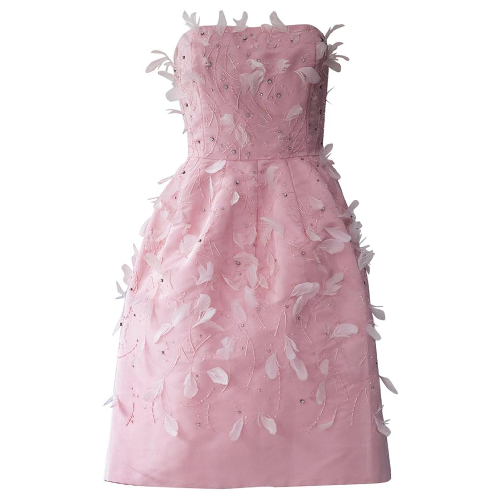 Oscar De La Renta Pink Feather Dress