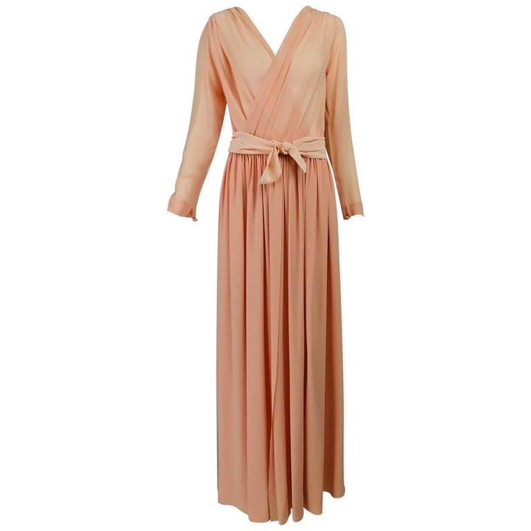 Nina Ricci Haute Boutique Demi Couture Peach Silk Evening Gown 1980s For Sale