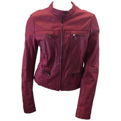 Etro Red Print Leather Jacket