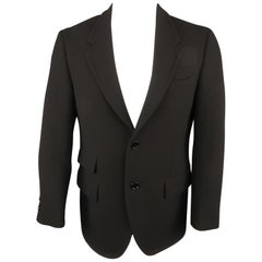 PRADA 38 Size 38 Black Solid Wool Notch Lapel Sport Coat