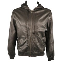 ADRIANO GOLDSCHMIED L Black Solid Leather Zip Up Jacket