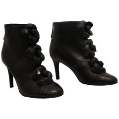 Chanel 2010 Fall Black Leather Camellia Flower Embellished Ankle Boots