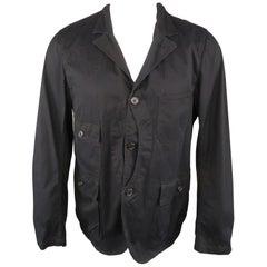 WOOLRICH M Black Solid Cotton Notch Lapel Jacket