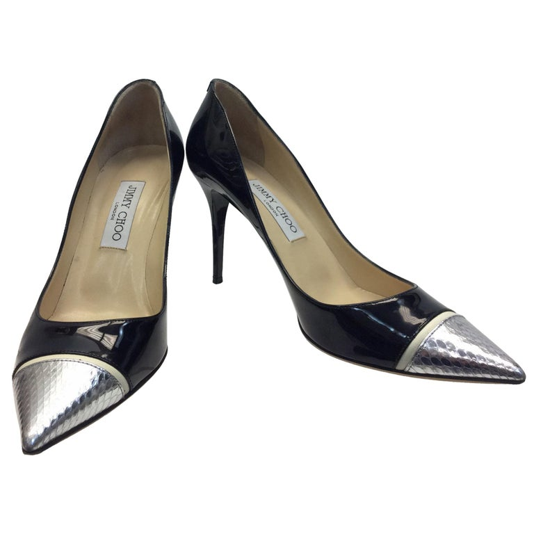 5646c8bc3 Jimmy Choo Patent Leather Black and Silver Heels For Sale at 1stdibs