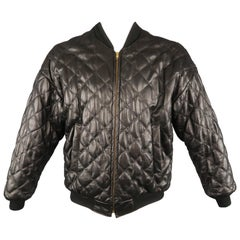 TROY ANICETE 42 Black Quilted Leather Bomber Jacket