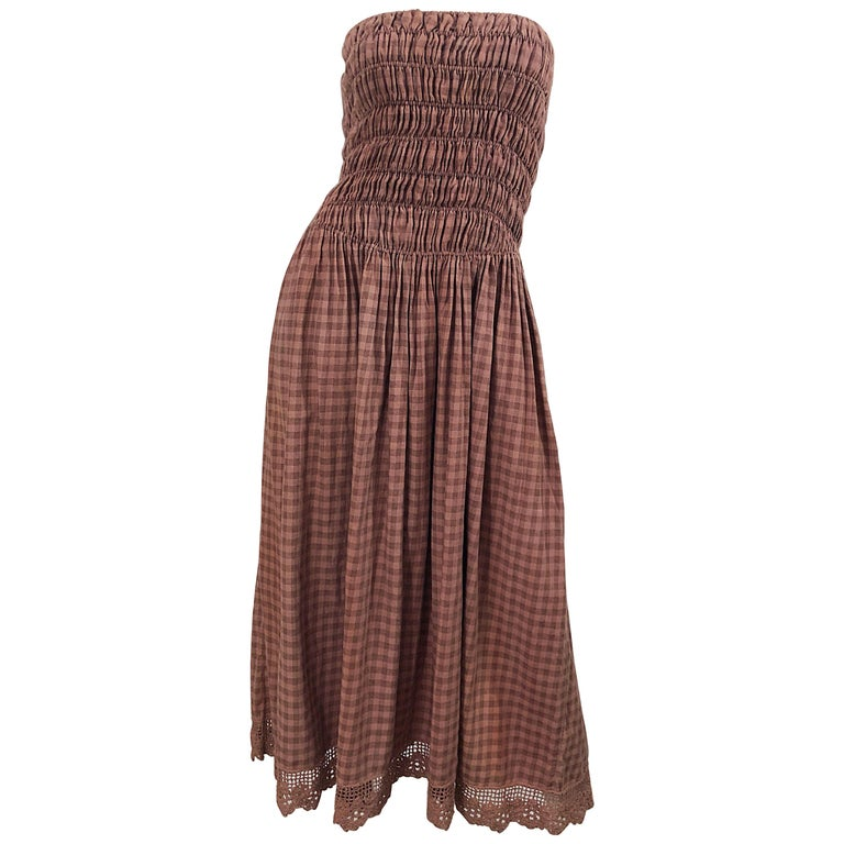 1970s Geoffrey Beene Dusty Rose Pink + Brown Crochet Strapless Ombre Midi Dress For Sale
