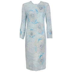 1977 Halston Light-Blue Beaded Sequin Floral Silk Crepe Long-Sleeve Shift Dress