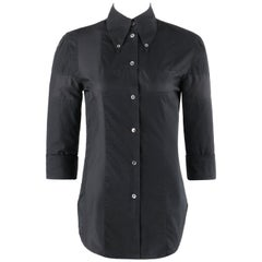 "ALEXANDER McQUEEN A/W 1996 ""Dante"" Two Tone Black Cross Panel Button Up Shirt"