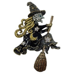 "Heidi Daus ""Heidi on the Stick"" Pave Crystal and Enamel Witch Pin, Brooch"