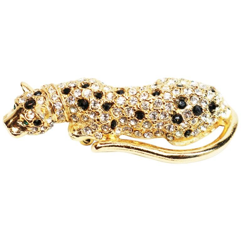Kenneth Jay Lane Gold Leopard Fur Clip For Sale