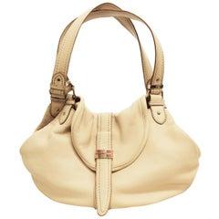 Lancel Ivory Pebble Leather Two Strap  Shoulder Bag