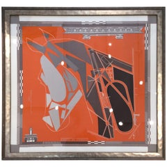 Framed Hermes Orange 'Cheval de Courses' Silk Scarf