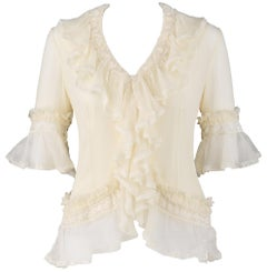 "ALEXANDER McQUEEN S/S 1999 ""No. 13"" Crinkle Chiffon Ruffle Front Blouse w/ Tank"