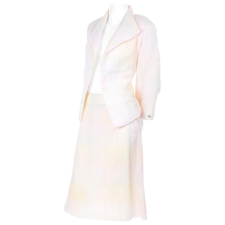 Chanel Suit With Skirt & Open Jacket in Ivory Pink & Yellow Pastel Ombre Silk For Sale