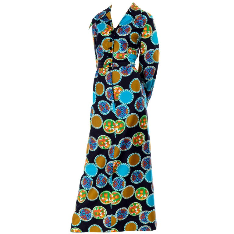 Dynasty Vintage Maxi Dress in Colorful Medallion Print With Pockets For Sale