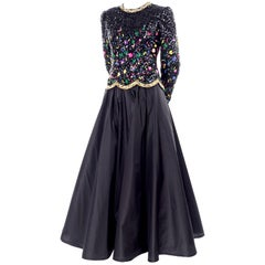 Richilene Vintage Evening Dress W Embroidered & Beaded Sequin Bodice
