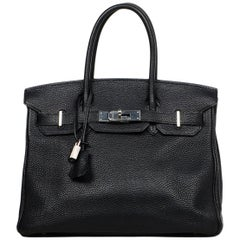 Hermes Black Togo Leather 30cm Birkin Bag W/ PHW