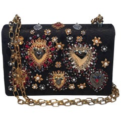 Dolce and Gabbana DG Girls Brocade Hearts Embellished Handbag