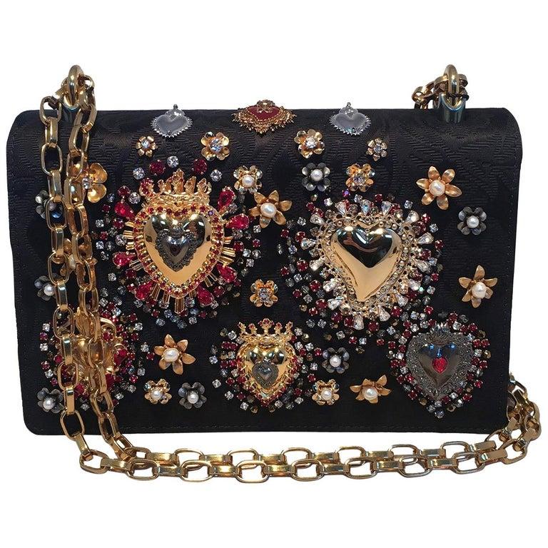 Dolce and Gabbana DG Girls Brocade Hearts Embellished Handbag For Sale
